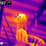 Infrared Picture of Exhaust Pipe Penetrating Roof