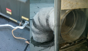 unpainted PVC and exposed duct